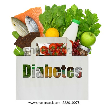 Paper bag with the word diabetes filled with healthy foods - stock photo