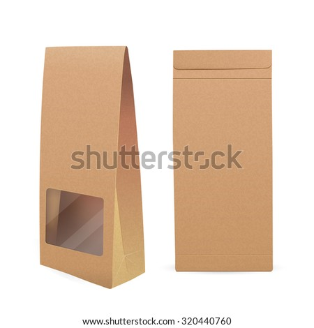 paper bag with window isolated on white background