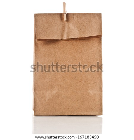paper bag with wooden clip  isolated on white background - stock photo