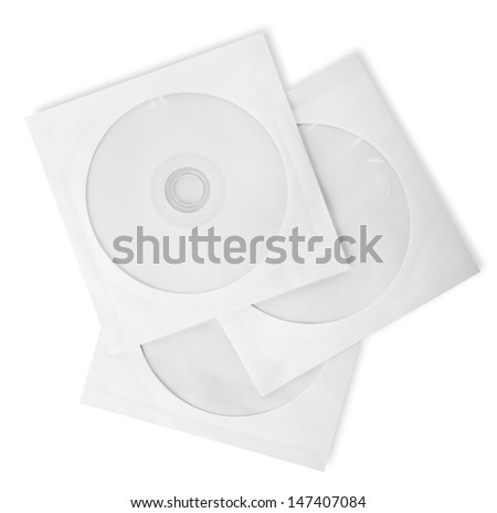 Paper bags for CD isolated on a white background