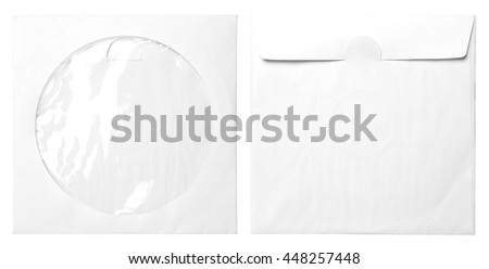 paper bags for CD isolated on white - stock photo