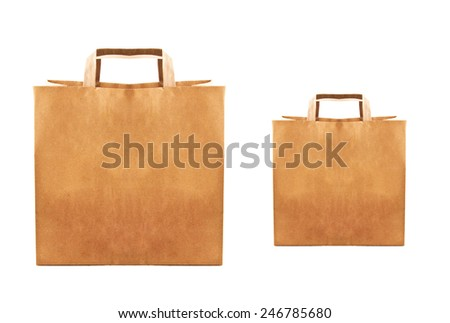 Paper bags isolated - stock photo