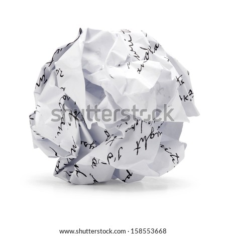 Paper ball - Crumpled sheet of free hand script writing paper isolated ., A screwed up piece of paper in round shape., Junk paper can be recycle on white background. - stock photo