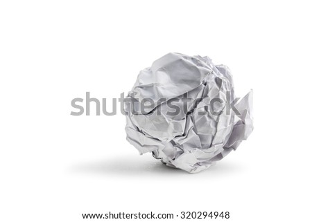 paper ball isolated on white - stock photo