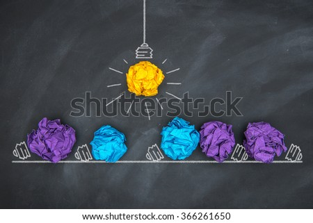 Paper Ball on Blackboard and lightbulb shape, Idea Concept - stock photo
