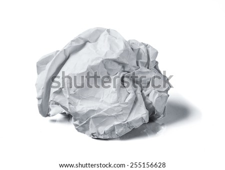 paper ball on white background - stock photo