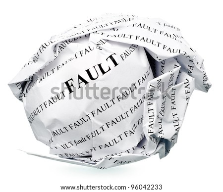 "paper ball with text "" fault "" and clipping path on a white background"