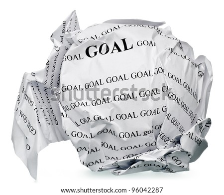 "paper ball with text "" goal "" and clipping path on a white background"