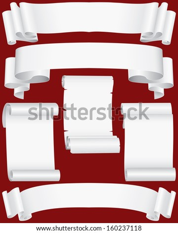 paper banners and scrolls set - stock photo