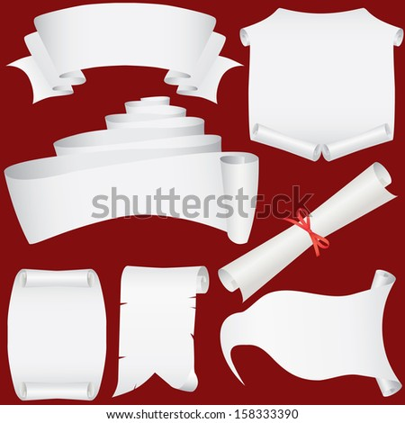 paper banners, scrolls and diploma set  - stock photo