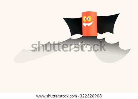 Paper bat of Halloween. - stock photo