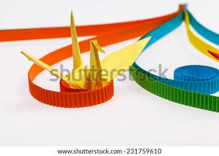 paper bird, origami. - stock photo