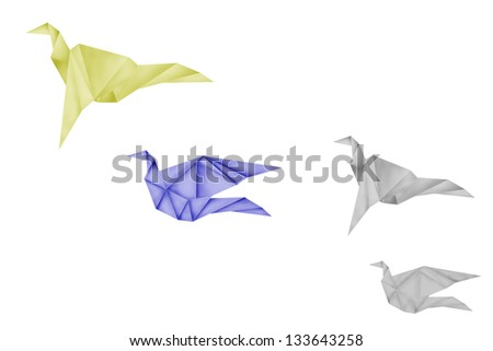 paper birds on background,freedom symbol,abstract sign - stock photo
