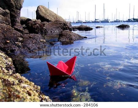 paper boat2 - stock photo