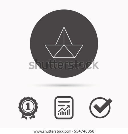 Paper boat icon. Origami ship sign. Sailing symbol. Report document, winner award and tick. Round circle button with icon.