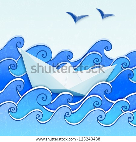 Paper boat in the blue sketched paper sea with seagulls. Vector version also exist. - stock photo