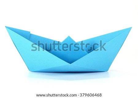 paper boat isolated on white background - stock photo