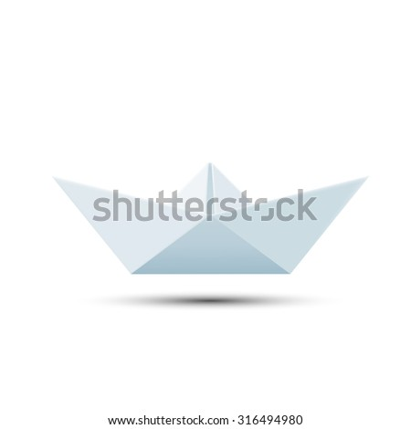 Paper boat isolated on white background. Stock image.