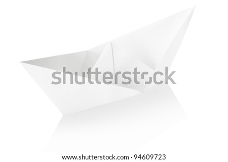 Paper boat isolated on white, clipping path included