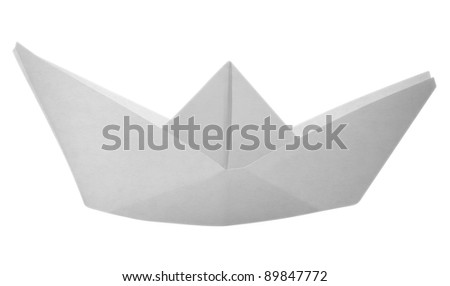 Paper boat made of paper on white background. Clipping path included - stock photo