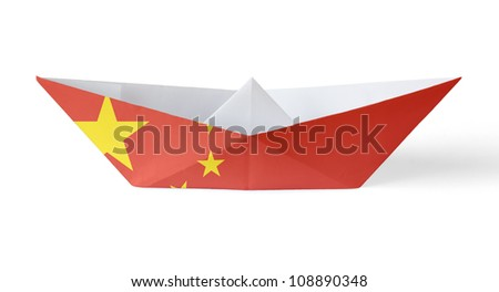 Paper Boat with Chinese Flag - stock photo