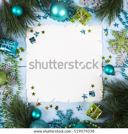 paper bordering with christmas decoration