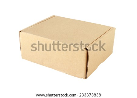 Paper Box Closed isolated on white background - stock photo
