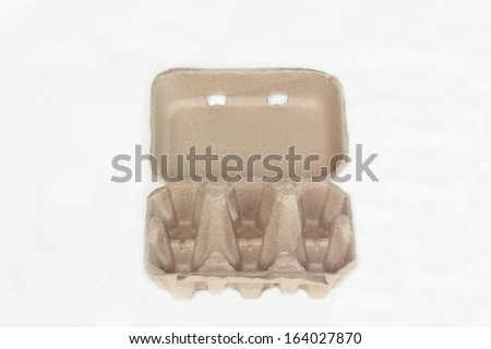 Paper box for eggs isolated on white background - stock photo
