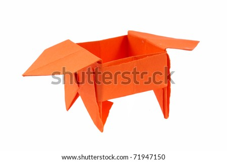 Paper box - simple origami on a white background - stock photo