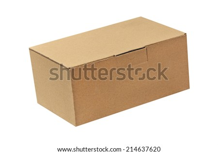 Paper box taken closeup isolated on white background.