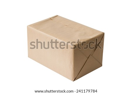 Paper box tied with a rope, isolated on white background