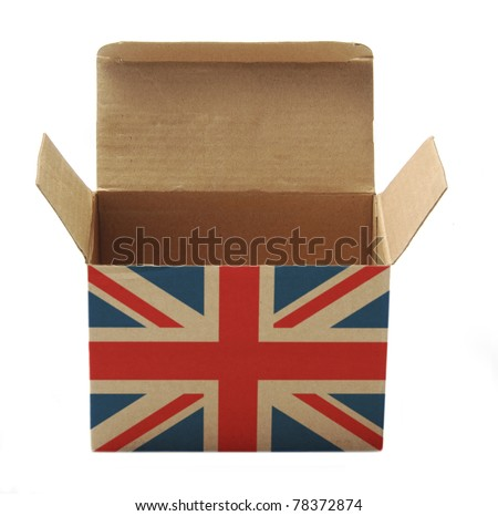 paper box with UK flag isolated on white background - stock photo