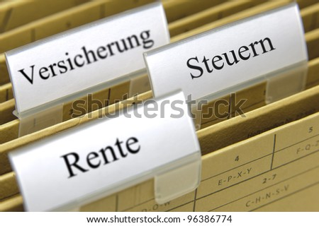 paper boxes in office for old-age rent, tax and insurance