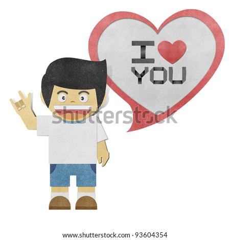 Paper boy with i love you alphabet recycled paper craft - stock photo