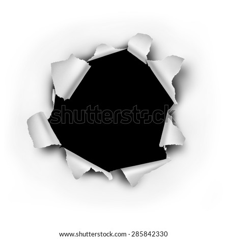 Paper burst hole with ripped torn edges on a white sheet that has been punctured or punched open as a breakthrough blowout freedom and escape symbol. - stock photo