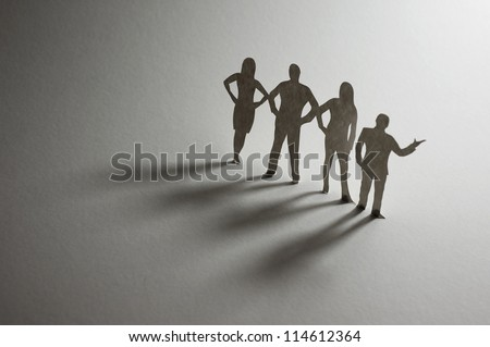 Paper Business Team - macro photography - stock photo