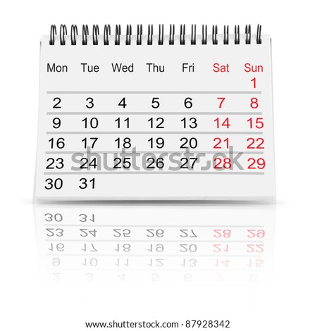 Paper calendar isolated on white - stock photo