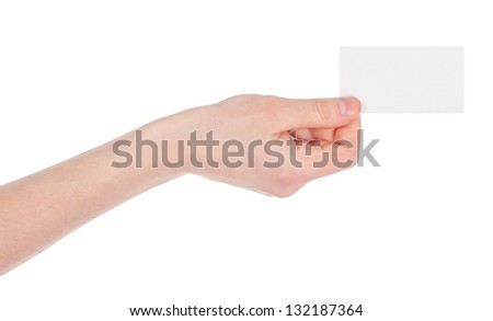 Paper card in men hand isolated on white background