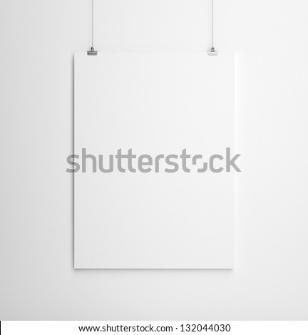 paper card on white wall - stock photo