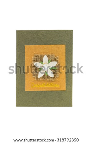 Paper card with paper flower isolate on white  background - stock photo