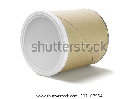 Paper Cardboard Container Lying on White Background