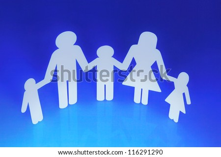 Paper Chain Family Holding Hands on Blue background