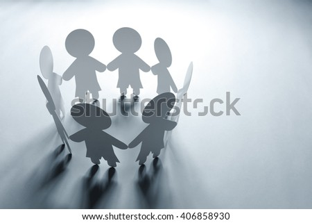 Paper chain friends, family or community - stock photo