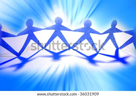 Paper-chain team over blue background