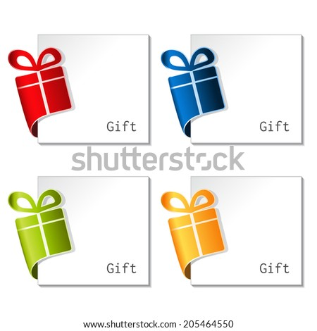 paper Christmas gift, bent tape with paper label - stock photo