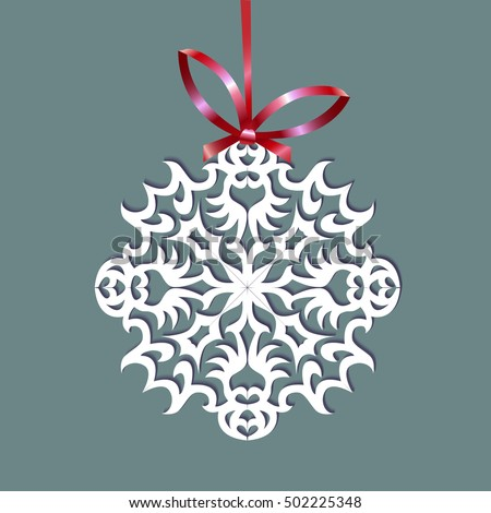 Paper Christmas snowflake on a ribbon, illustration