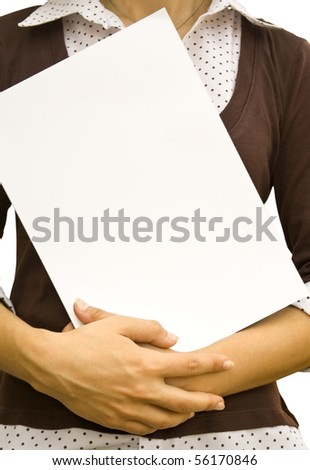 Paper clean sheet in hands in the girl - stock photo