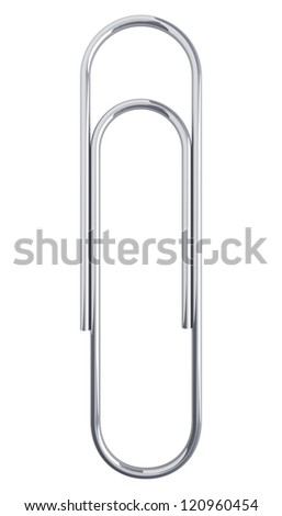 Paper clip isolated at white background. 3d render illustration - stock photo