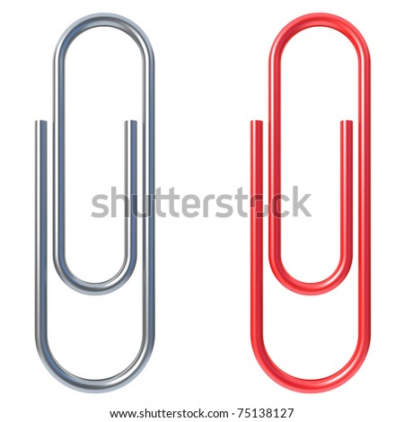paper clip isolated over white background - stock photo