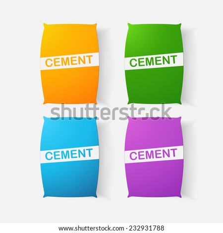 Paper clipped sticker: bag of cement. Isolated illustration icon